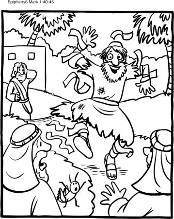 Coloring Page Jesus Cleanses a Leper