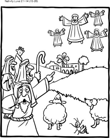 Christmas Coloring Page Shepherds