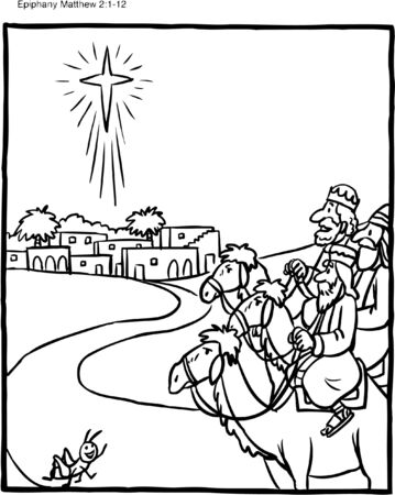 Christmas Coloring Page Wise Men Foto de archivo - 126874017
