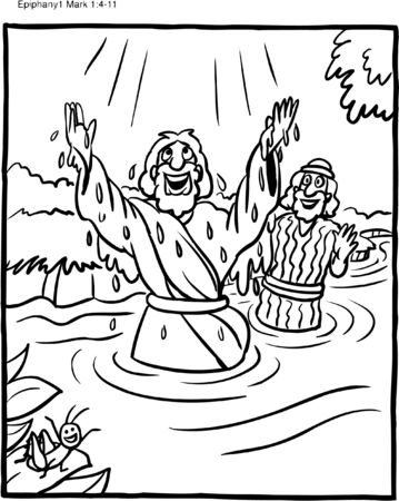 Coloring Page Jesus Baptism