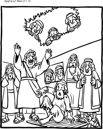 Coloring Page Jesus Heals Paralytic