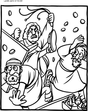 Coloring Page Jesus Cleansing Temple