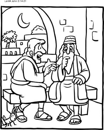 Dibujo para colorear Jesús y Nicodemo Ilustración de vector
