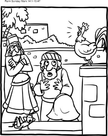 Coloring Page of Rooster and Peter Denying Jesus