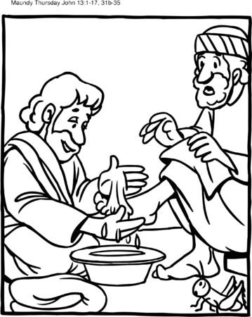 Coloring Page Jesus Washes Feet of Disciples