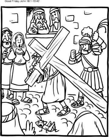 Coloring Page Jesus Carrying Cross