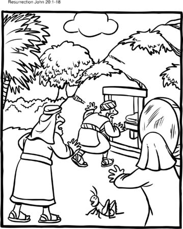 Easter Coloring Page Empty Grave Vettoriali