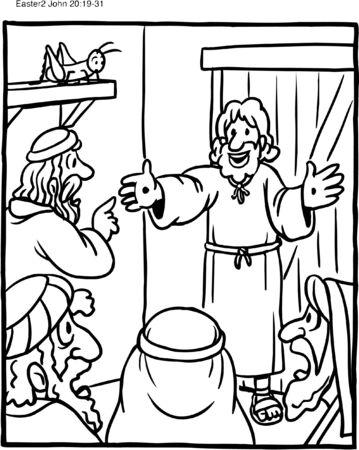 Coloriage Jésus apparaît vivant à Thomas