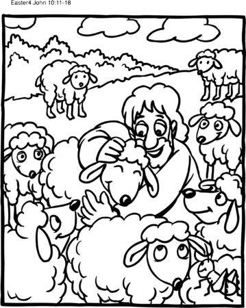 Coloring Page of Jesus as Shepherd with Sheep Vettoriali