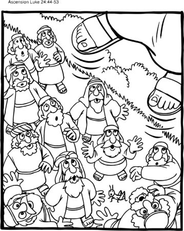 Coloring Page Jesus' Ascension Vectores