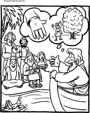 Kolorowanka Jezus przypowieść o nasionach gorczycy Ilustracje wektorowe