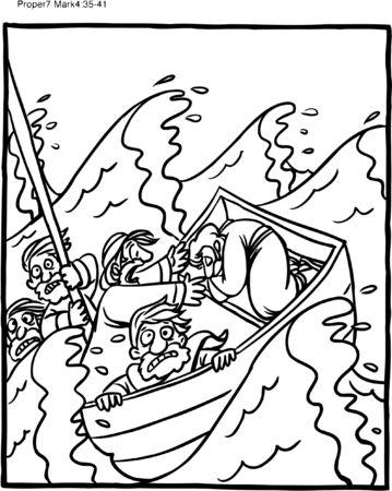 Página para colorear de Jesús durmiendo en el mar durante la tormenta
