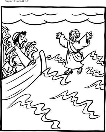 Coloring Page of Jesus Walking on Water