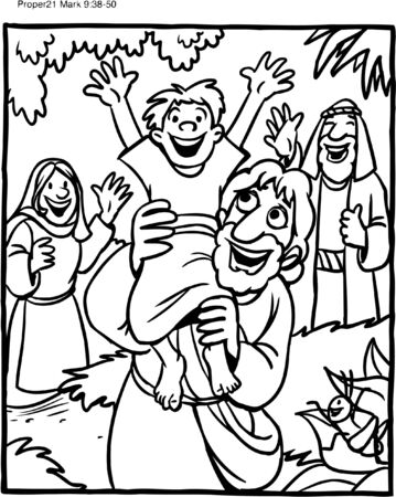 Coloring Page of Jesus and boy Vettoriali