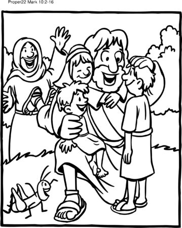 Coloring Page of Jesus with Children 向量圖像