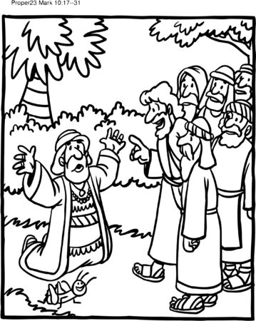 Coloring Page of Jesus and Rich Ruler
