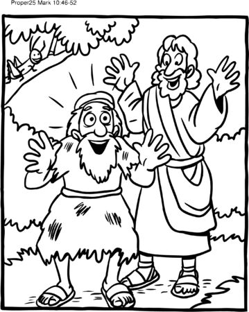 Coloring Page of Jesus and Blind Man Illustration