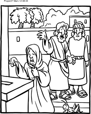 Coloring Page Jesus Teaching Widows Giving Ilustrace