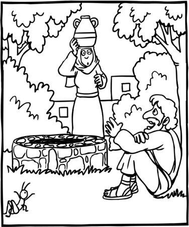 Coloring Page Jesus and Samaritan Woman Illustration