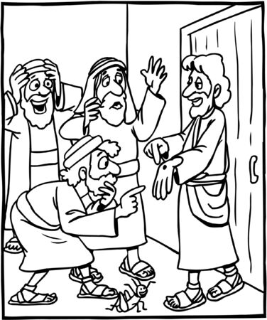 Coloring Page of Jesus appearing to Thomas