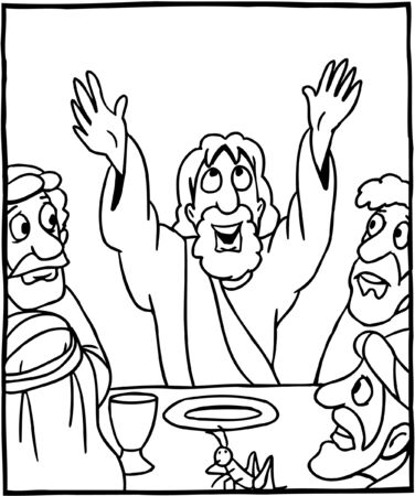Coloring page Jesus praying before meal