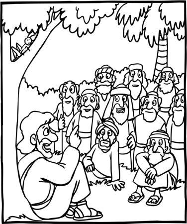 Página para colorear de Jesús enseñando a la multitud