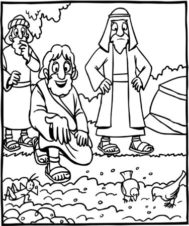 Coloring Page Jesus Parable of Sower Vettoriali