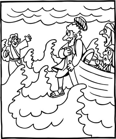 Coloring Page of Jesus and Peter Walking on Water