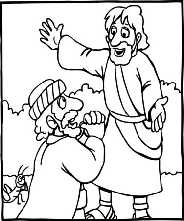 Coloring page of Jesus and man on knees