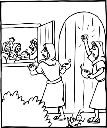Coloring Page of Parable of Ten Virgins