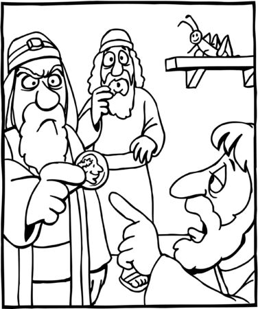Coloring Page of Jesus Answering Pharisees