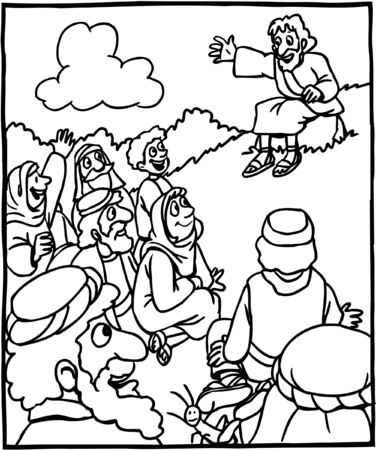 Coloring page of Jesus teaching to crowd