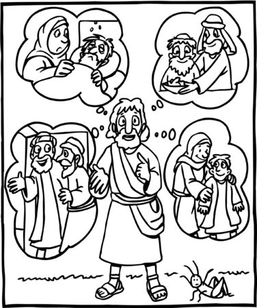 Coloring Page of Jesus Teaching About Kindness Vettoriali