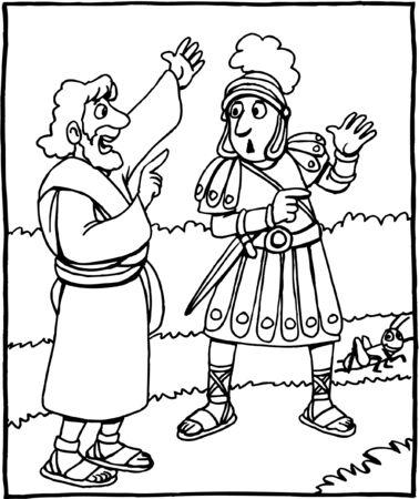Malvorlage von Jesus im Gespräch mit dem Soldaten