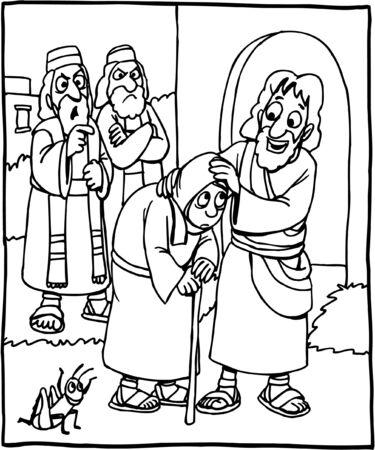 Página para colorear de Jesús sanando a una mujer