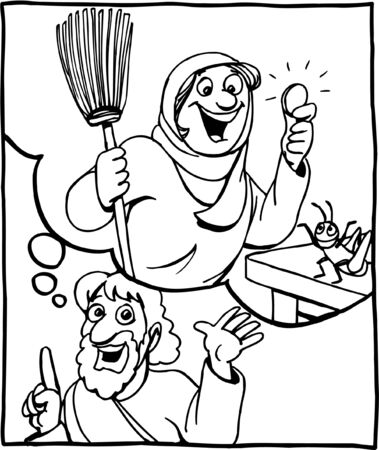 Coloring page of the woman and the lost coin