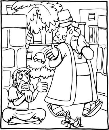 Coloring page of the rich man and a beggar Vettoriali