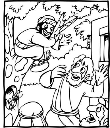 Cartoon of Jesus and Zacchaeus Vettoriali