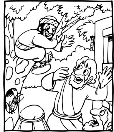 Cartoon of Jesus and Zacchaeus 矢量图像