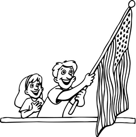 Cartoon People with American Flag