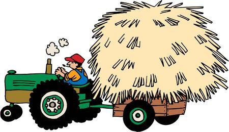 Tractor hulling hay