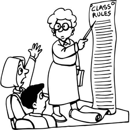 Teacher describing class rules