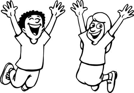 Les enfants sautent de bonheur