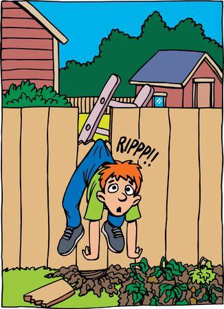 Boy ripped pants on fence 벡터 (일러스트)