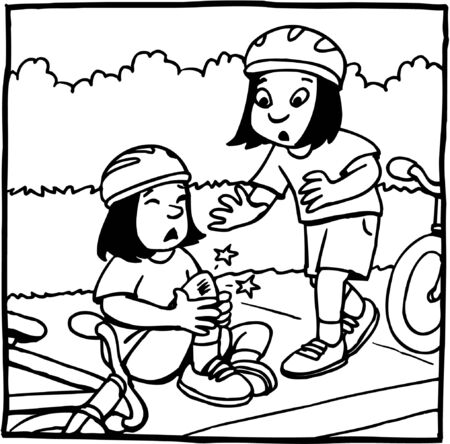 Girl and bicycle accident Illustration