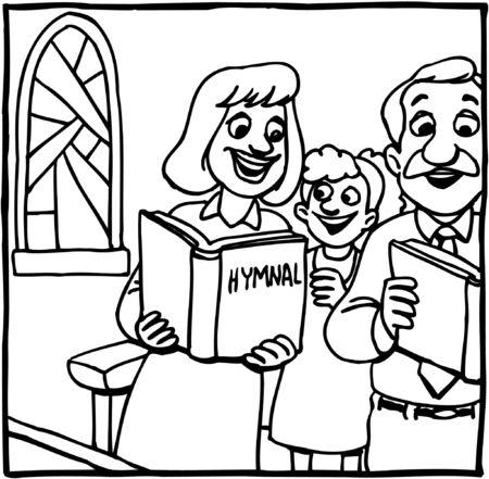 Family singing at church