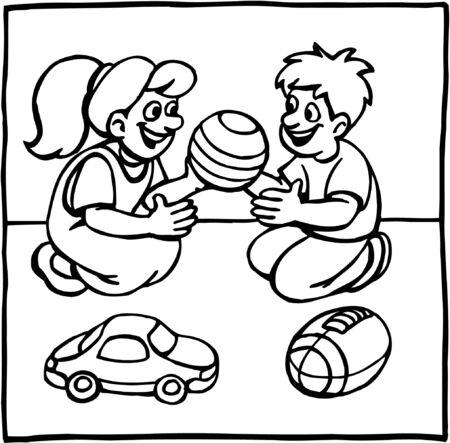Children playing together Illustration