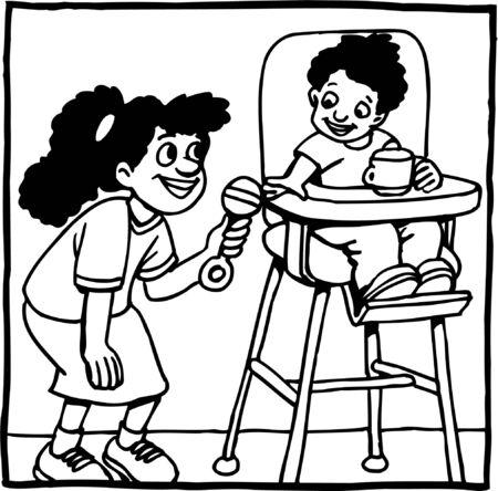 Girl handing baby boy a rattle Vettoriali