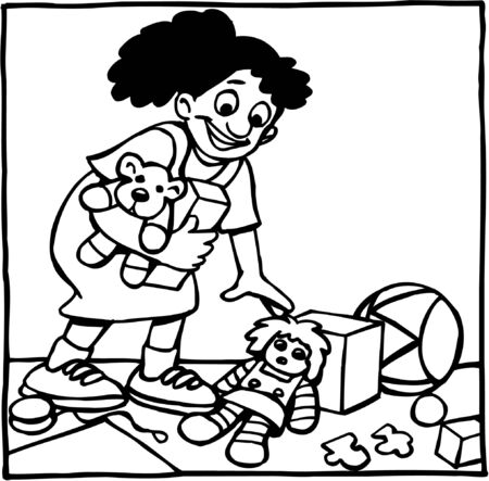 Girl cleaning up toys