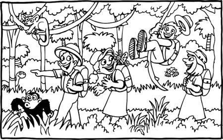 People on a jungle adventure